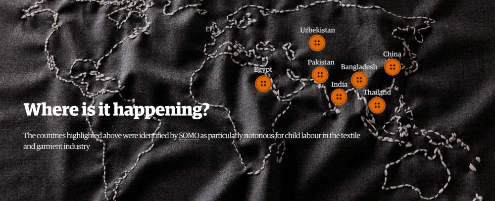 landen waar kinderarbeid in kleding industrie voorkomt